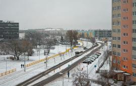 Ulica Gagarina w śniegu, widok od strony Okrężnej