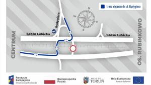 Mapa ze zmianami w ruchu drogowym przy Szosie Lubickiej 24 i 25 czerwca 2021 r.