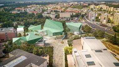 Baumschlager Eberle Lustenau - koncepcja siedziby ECFC z lotu ptaka