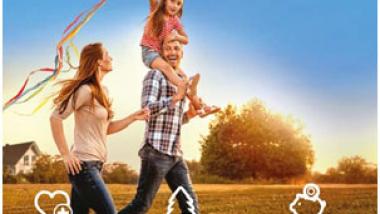 Grafika - radosna rodzina z dzieckiem i latawcem cieszy się z czystego powietrza