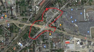 Mapa z zaznaczoną lokalizacją węzła przesiadkowego przy dworcu Toruń Wschodni